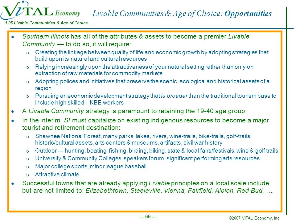 Livable Communities & Age of Choice: Opportunities