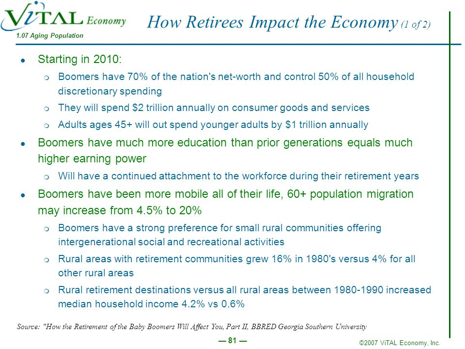 How Retirees Impact the Economy (1 of 2)