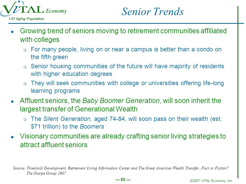 Senior Trends 1.07 Aging Population. Growing trend of seniors moving to retirement communities affiliated with colleges.