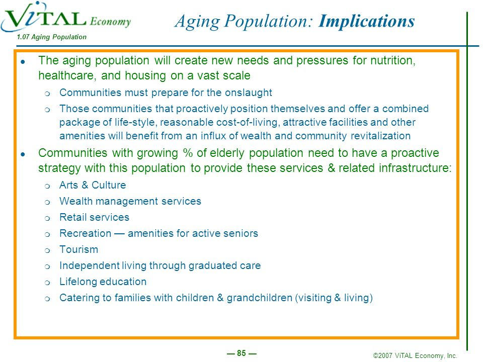Aging Population: Implications
