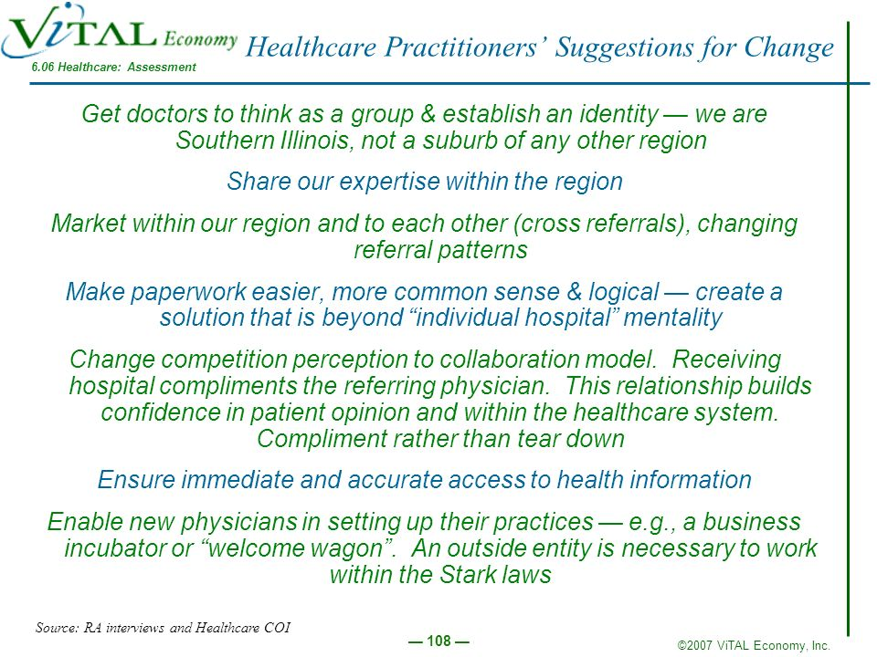 Healthcare Practitioners' Suggestions for Change
