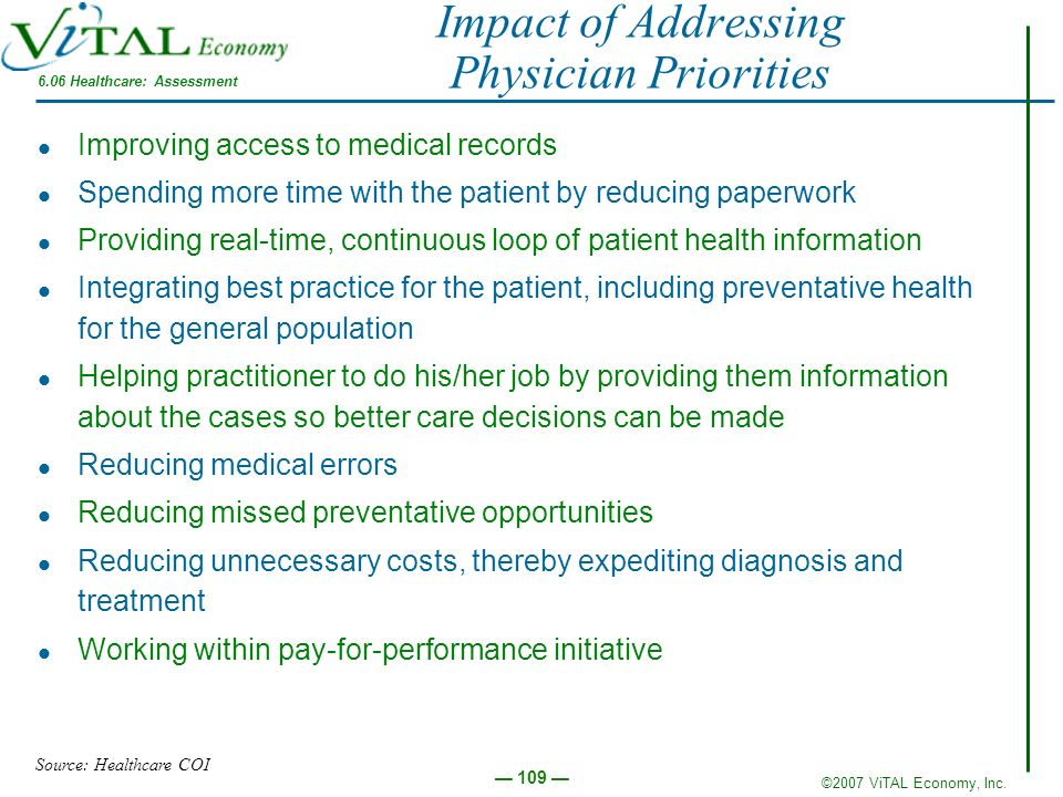 Impact of Addressing Physician Priorities