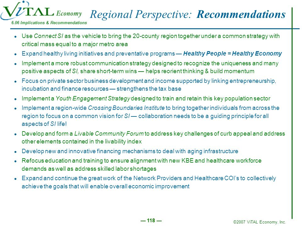 Regional Perspective: Recommendations