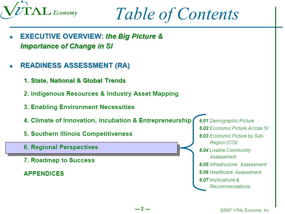Table of Contents EXECUTIVE OVERVIEW: the Big Picture & Importance of Change in SI. READINESS ASSESSMENT (RA)