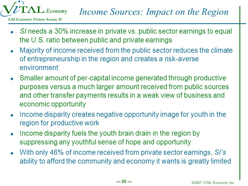 Income Sources: Impact on the Region