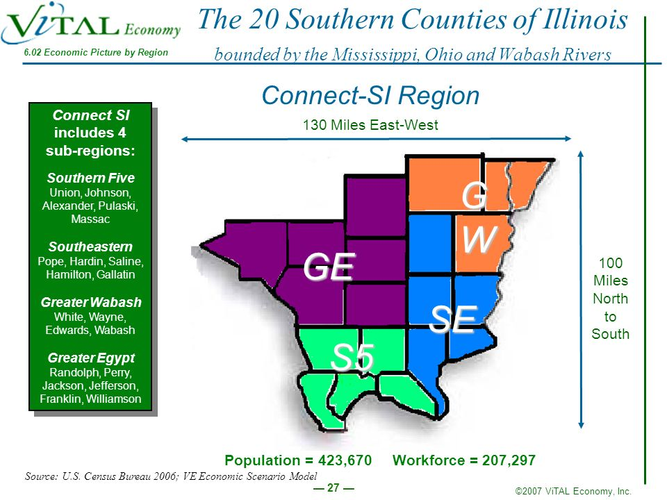 The 20 Southern Counties of Illinois bounded by the Mississippi, Ohio and Wabash Rivers