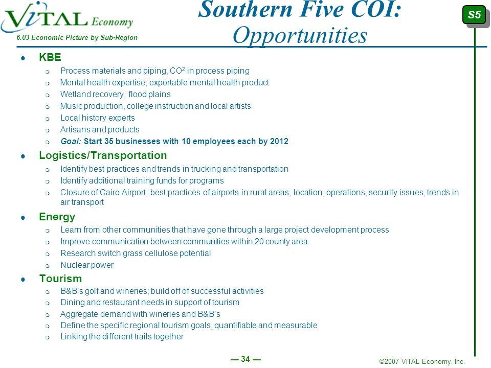 Southern Five COI: Opportunities
