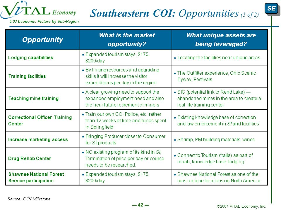 Southeastern COI: Opportunities (1 of 2)