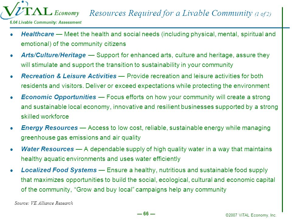 Resources Required for a Livable Community (1 of 2)