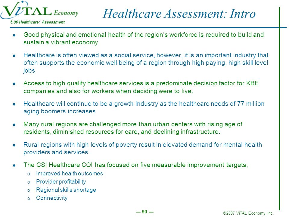 Healthcare Assessment: Intro
