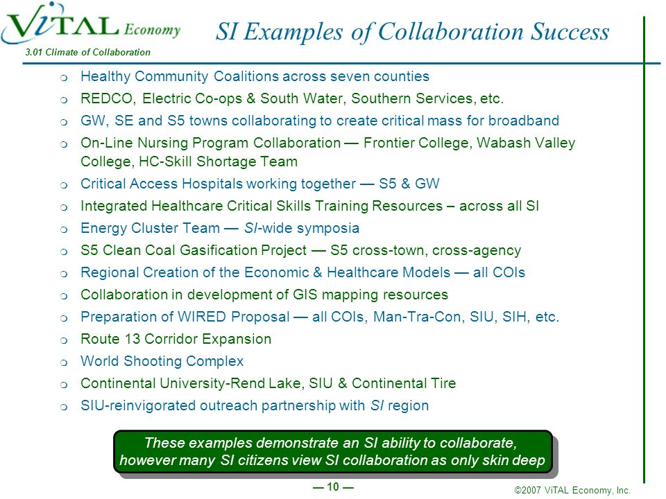 SI Examples of Collaboration Success