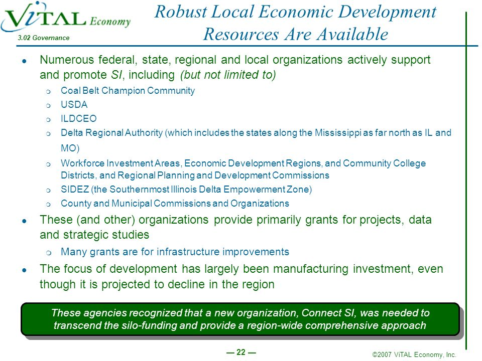 Robust Local Economic Development Resources Are Available