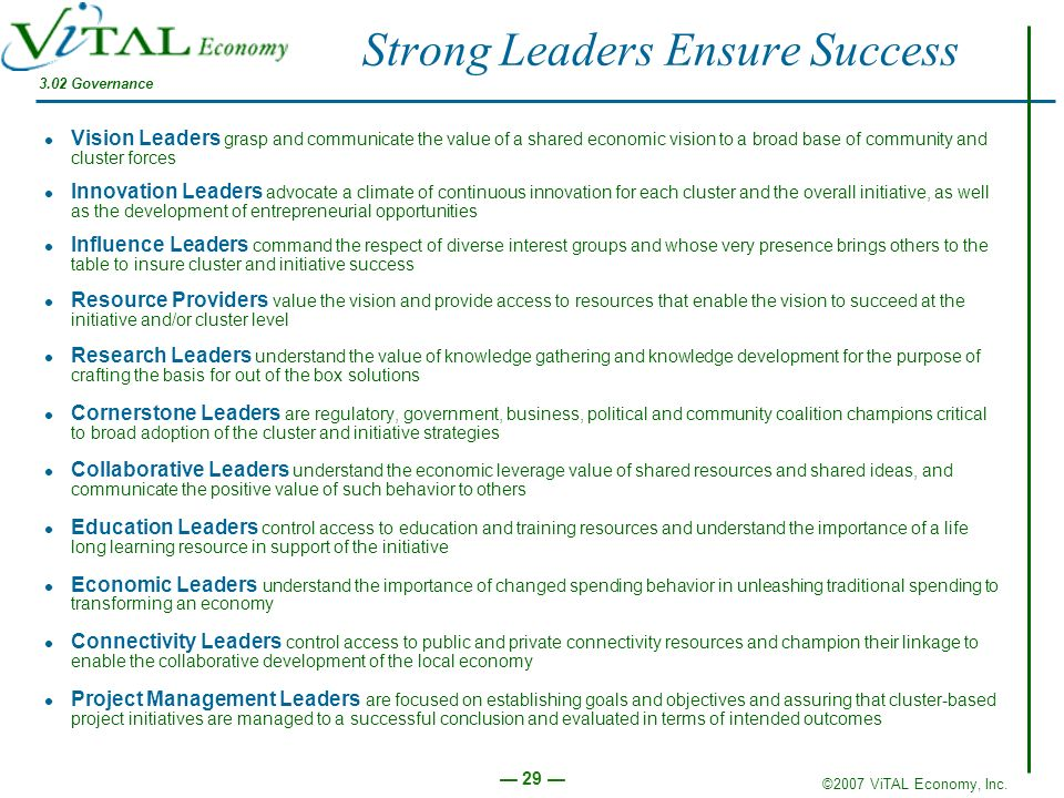 Strong Leaders Ensure Success