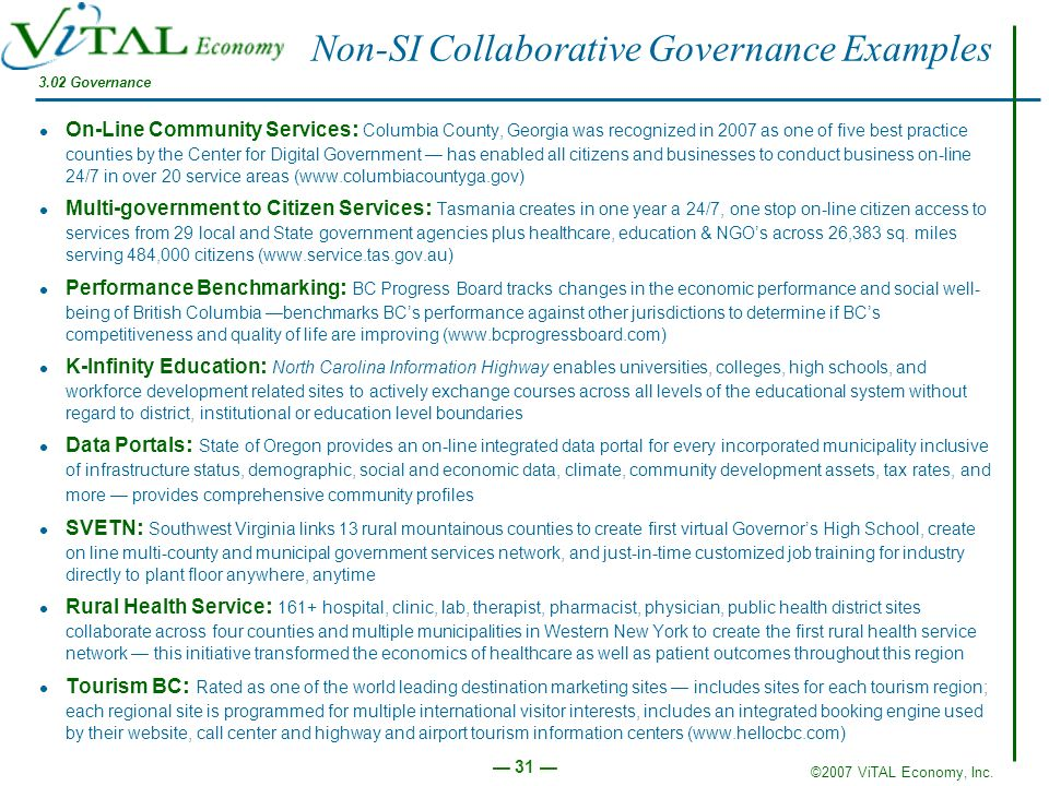 Non-SI Collaborative Governance Examples