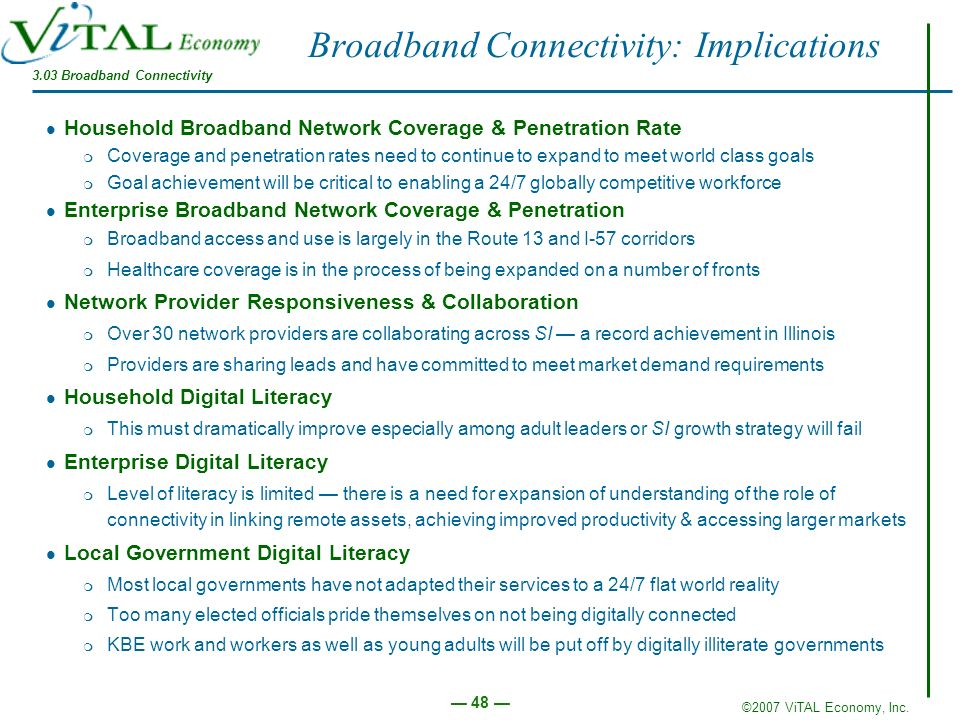 Broadband Connectivity: Implications