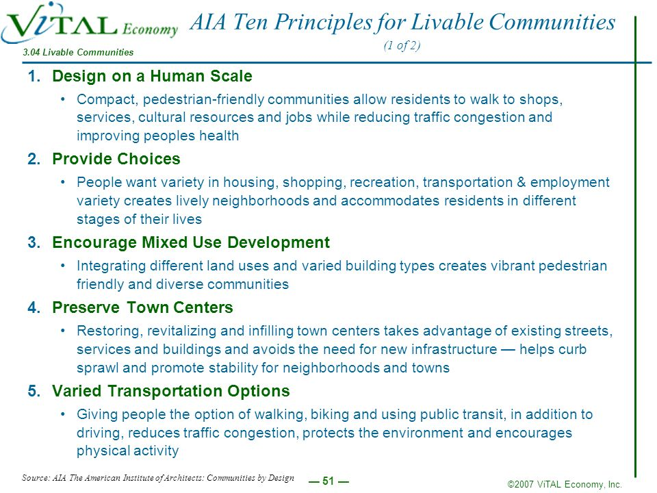 AIA Ten Principles for Livable Communities (1 of 2)