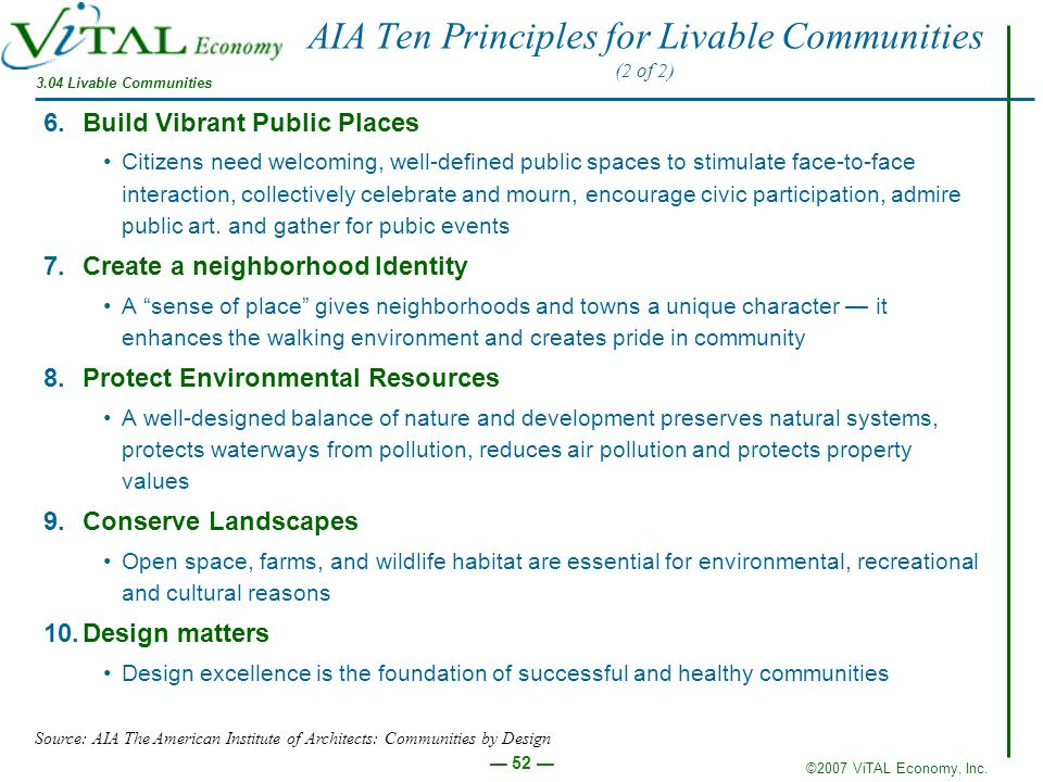 AIA Ten Principles for Livable Communities (2 of 2)