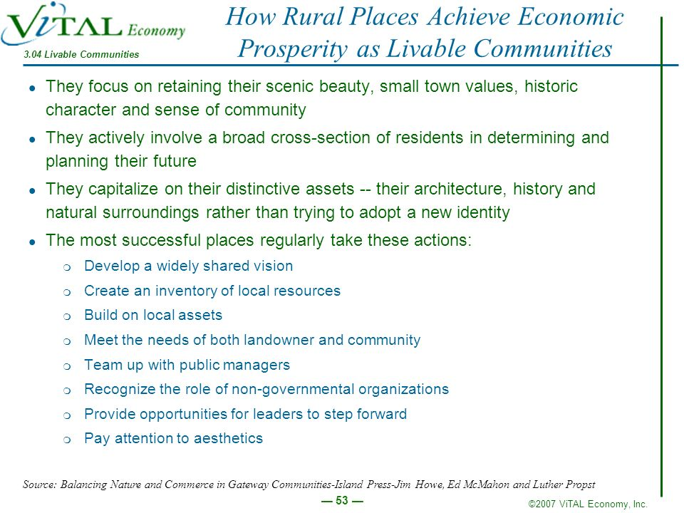 How Rural Places Achieve Economic Prosperity as Livable Communities