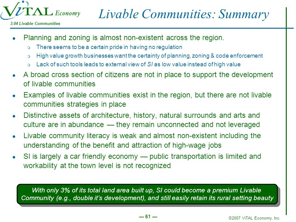 Livable Communities: Summary