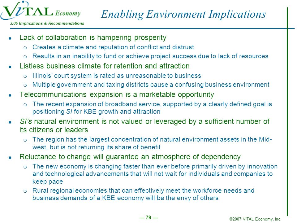 Enabling Environment Implications