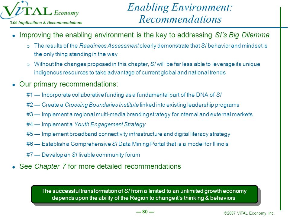 Enabling Environment: Recommendations
