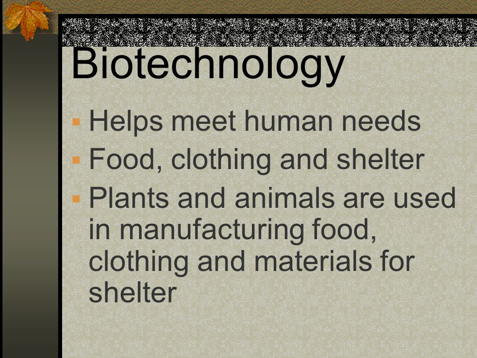 Biotechnology Helps meet human needs Food, clothing and shelter