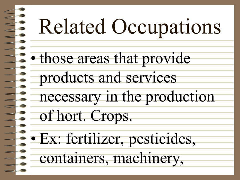 Related Occupations those areas that provide products and services necessary in the production of hort. Crops.