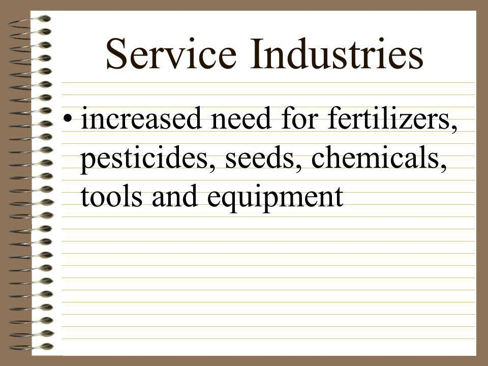 Service Industries increased need for fertilizers, pesticides, seeds, chemicals, tools and equipment.