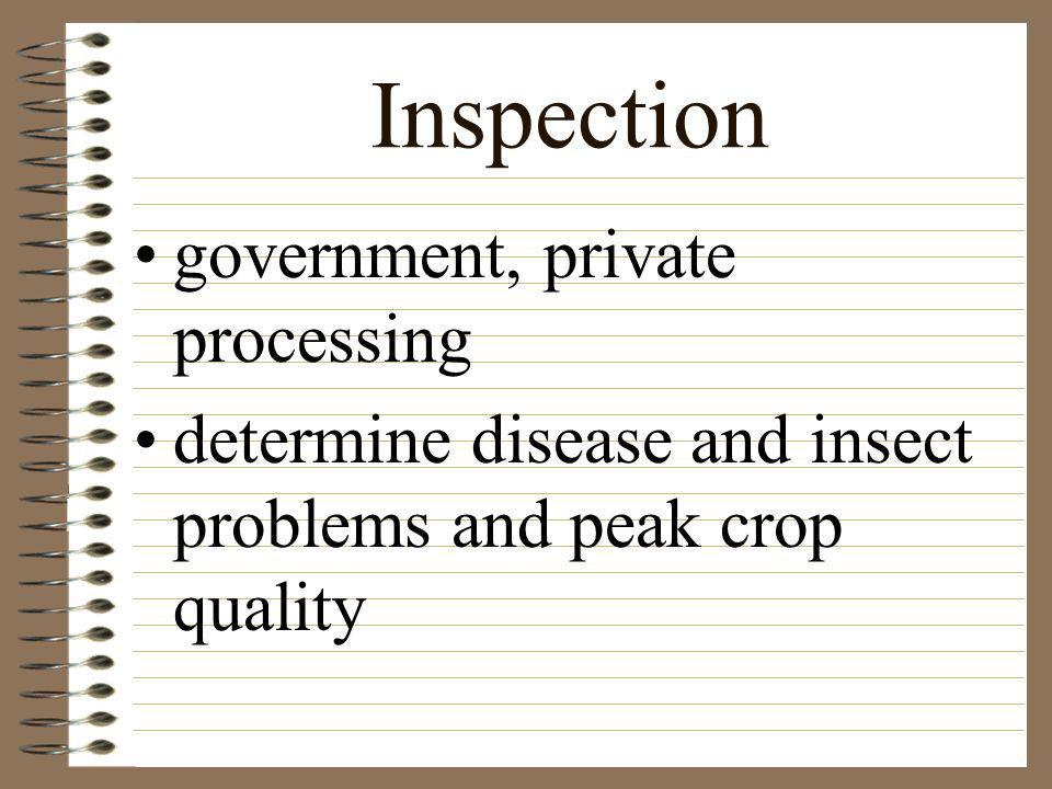 Inspection government, private processing
