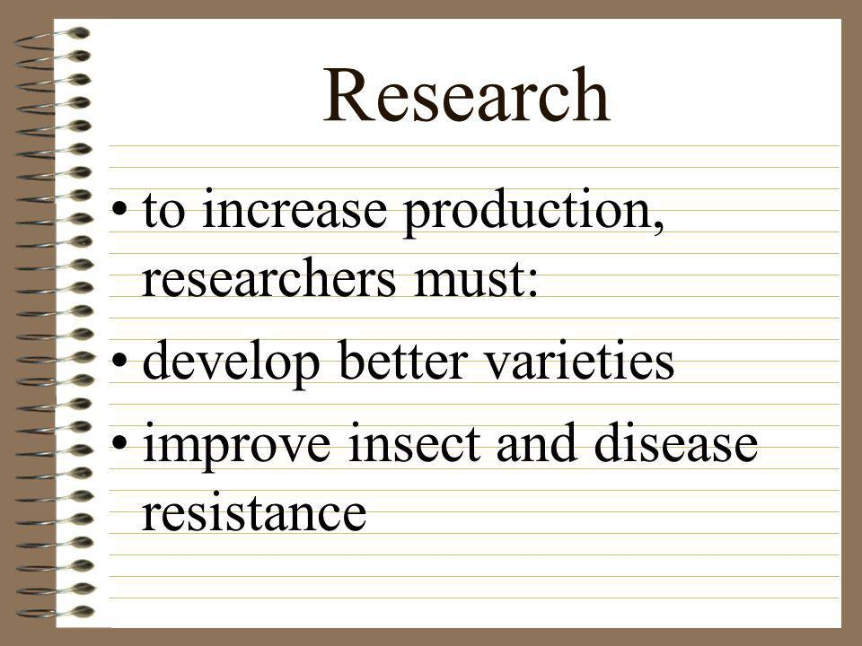Research to increase production, researchers must: