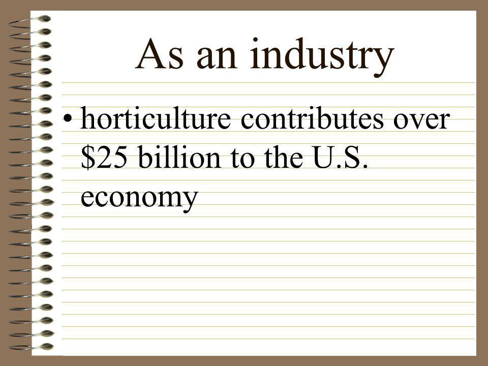 As an industry horticulture contributes over $25 billion to the U.S. economy