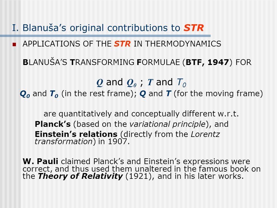 I. Blanuša's original contributions to STR
