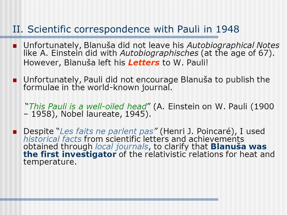 II. Scientific correspondence with Pauli in 1948