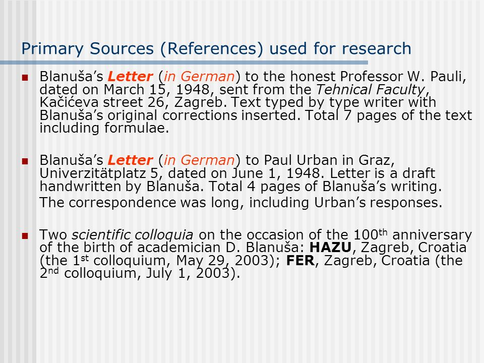 Primary Sources (References) used for research