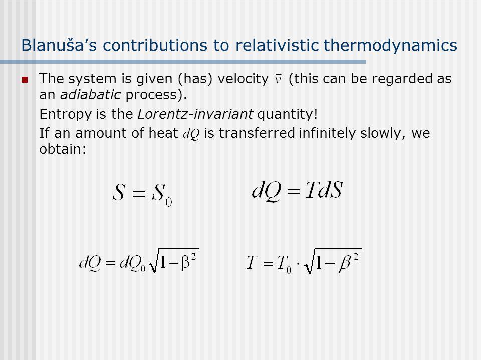 Blanuša's contributions to relativistic thermodynamics