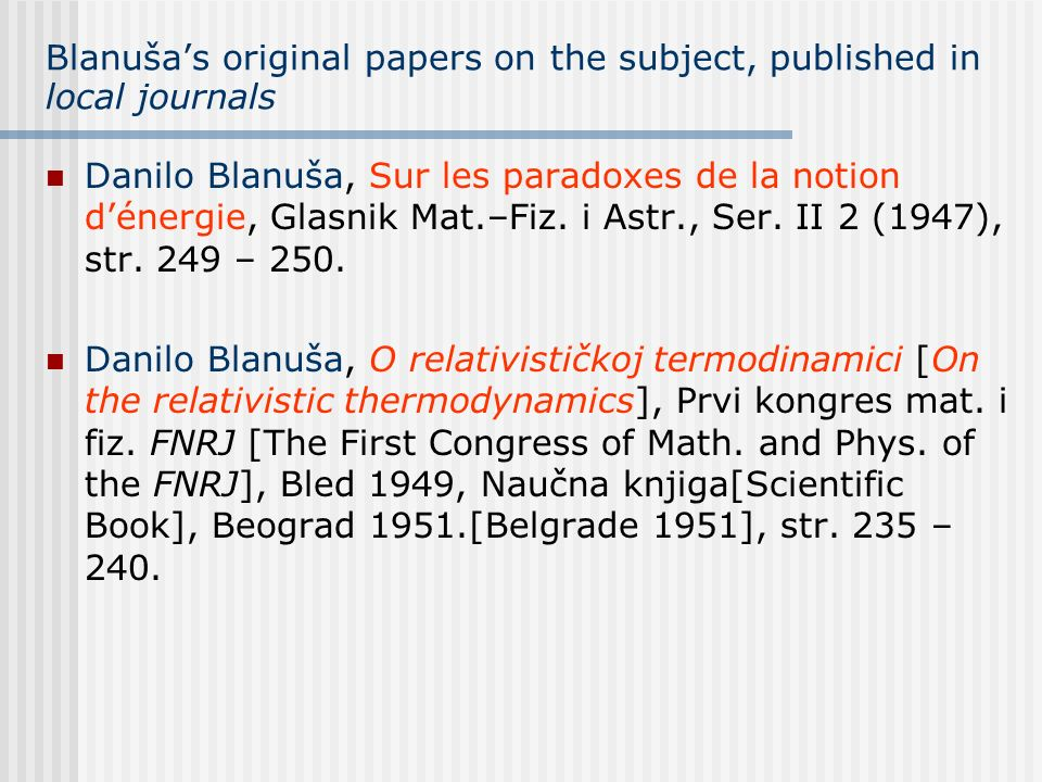 Blanuša's original papers on the subject, published in local journals