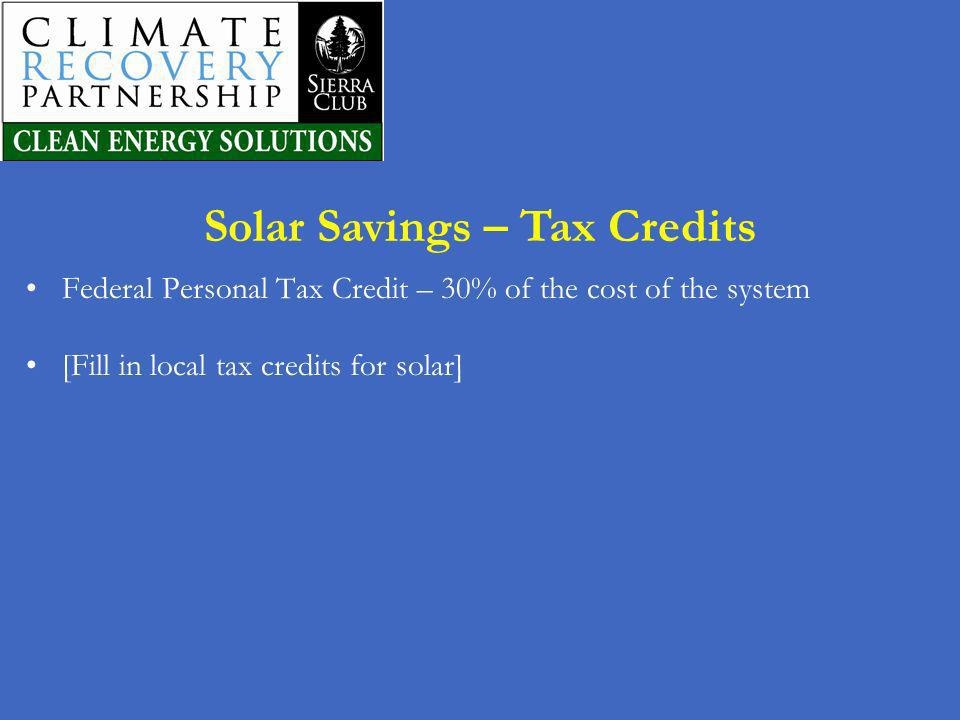 Solar Savings – Tax Credits