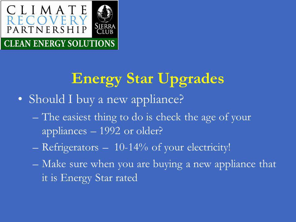 Energy Star Upgrades Should I buy a new appliance