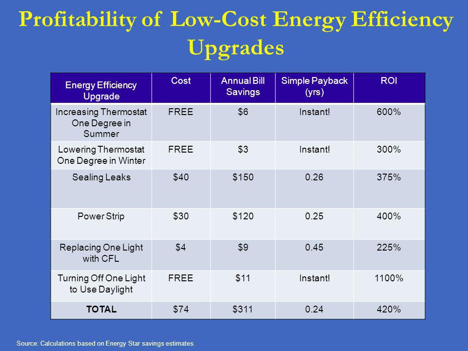 Profitability of Low-Cost Energy Efficiency Upgrades
