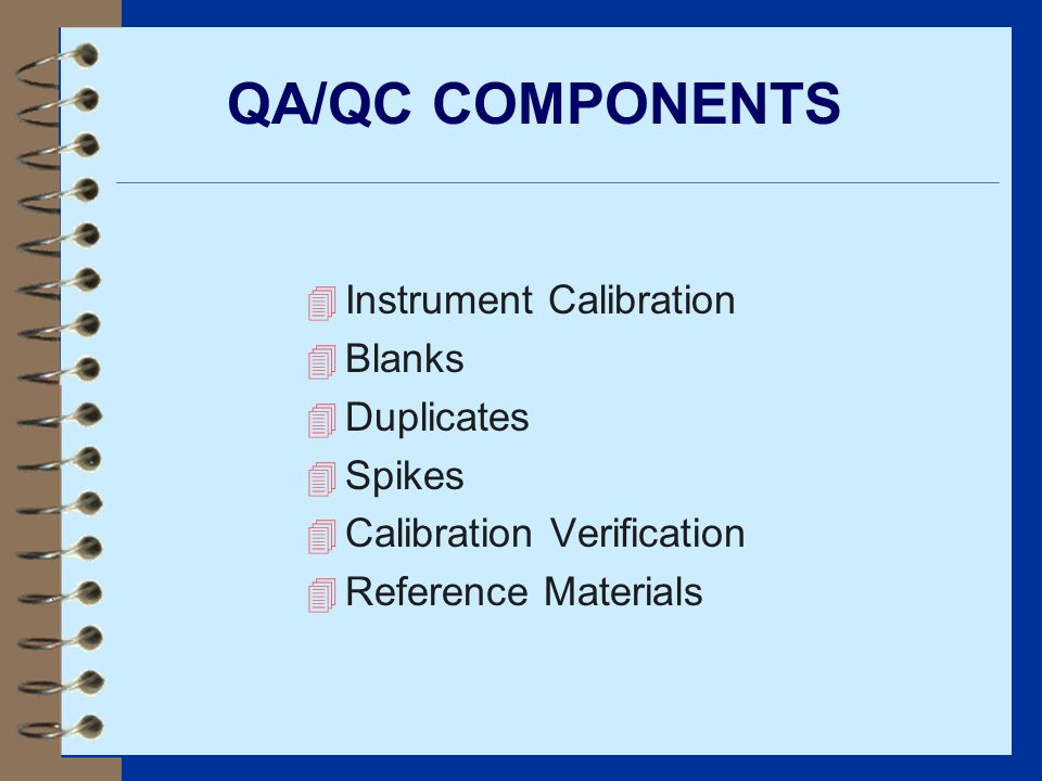 QA/QC COMPONENTS Instrument Calibration Blanks Duplicates Spikes