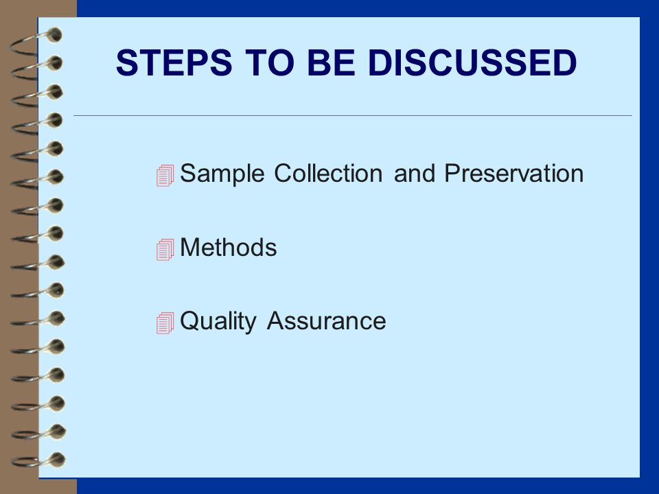 STEPS TO BE DISCUSSED Sample Collection and Preservation Methods