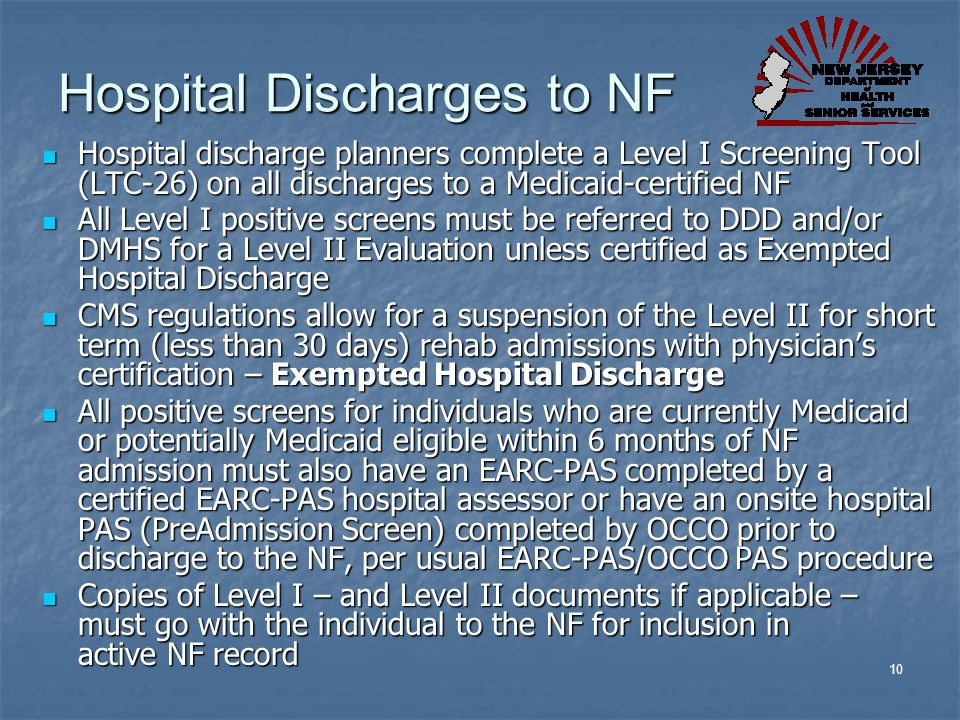 Hospital Discharges to NF