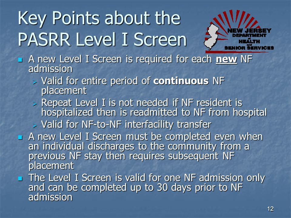 Key Points about the PASRR Level I Screen