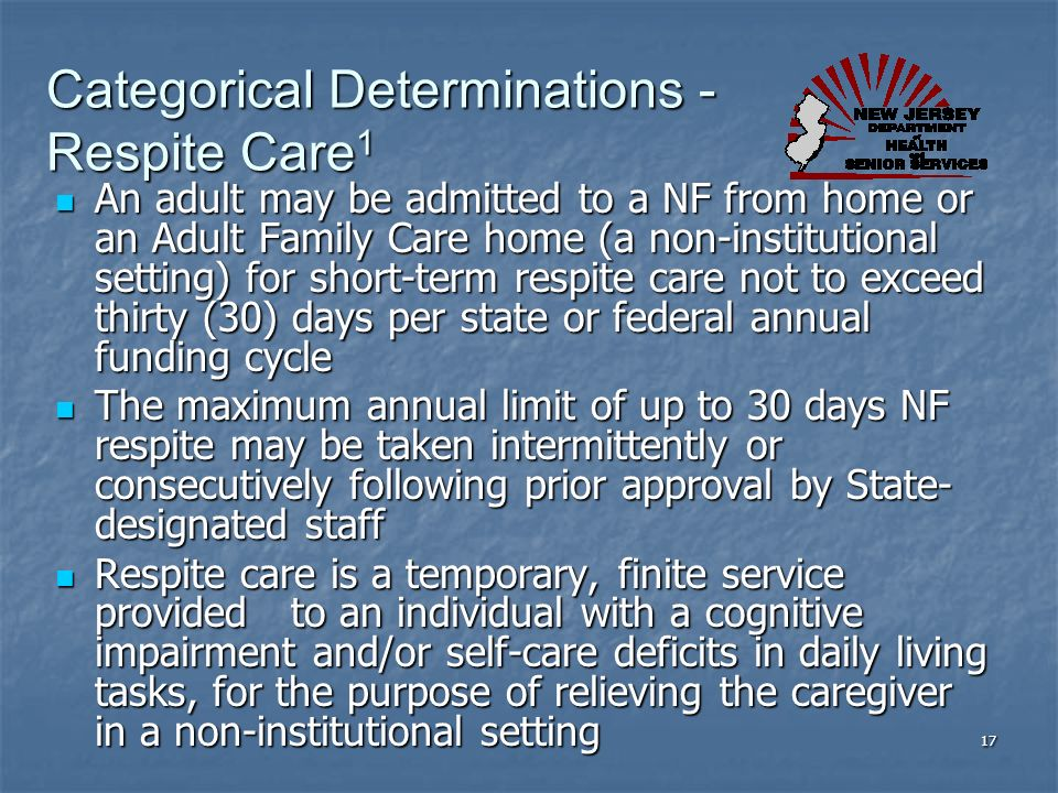 Categorical Determinations - Respite Care1