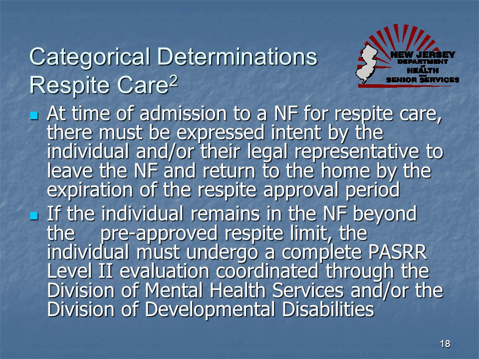 Categorical Determinations Respite Care2