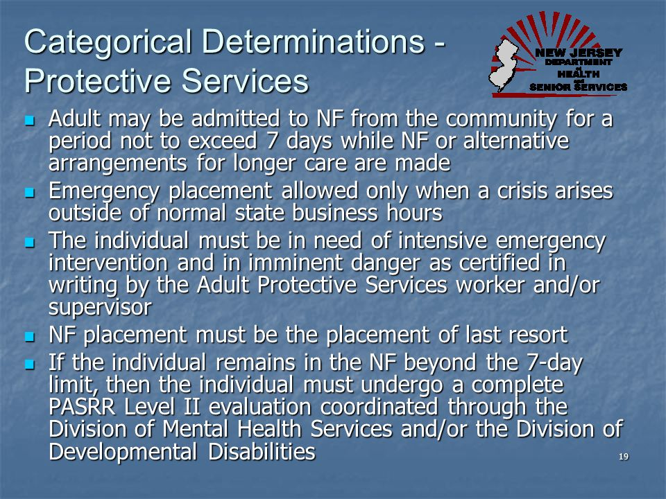 Categorical Determinations - Protective Services