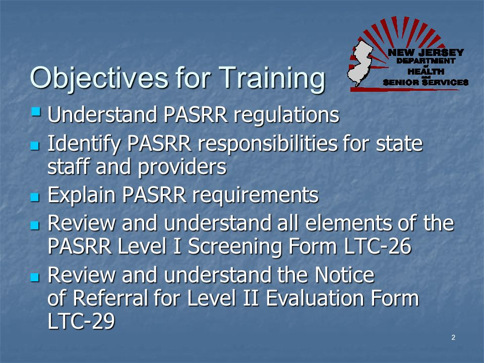 Objectives for Training