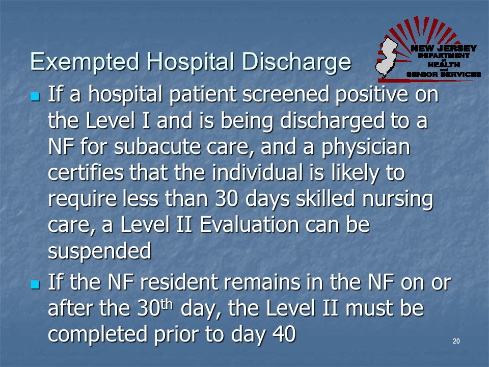 Exempted Hospital Discharge