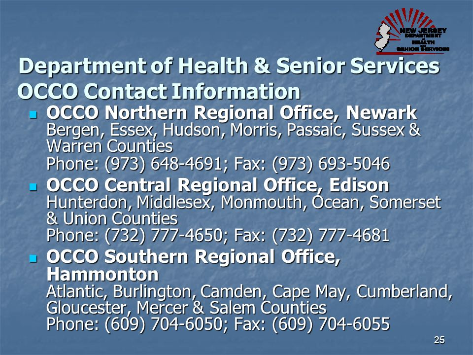 Department of Health & Senior Services OCCO Contact Information