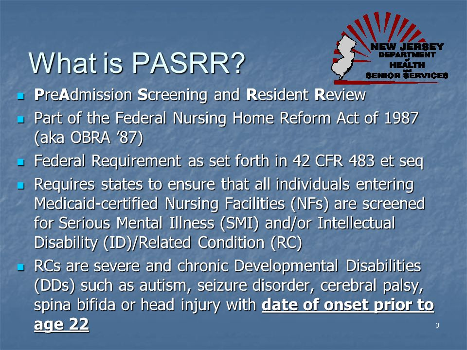 What is PASRR PreAdmission Screening and Resident Review
